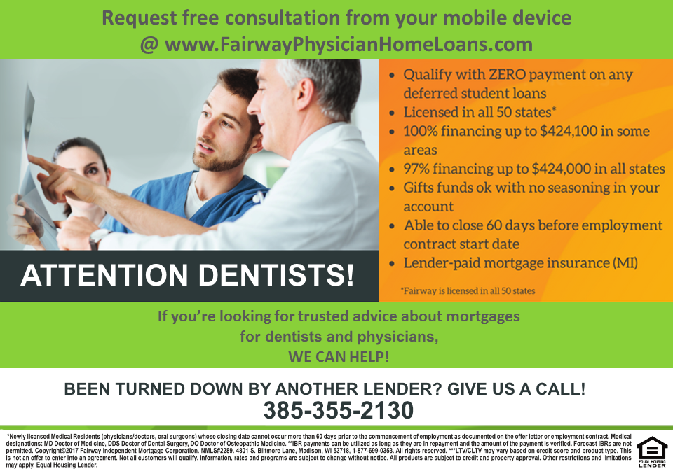 doctor mortgage for dentists, orthodontists and oral surgeons