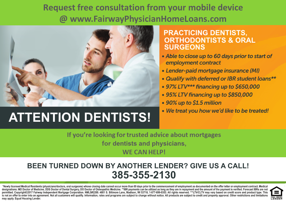 physician home loan for dentists, orthodontists and oral surgeons